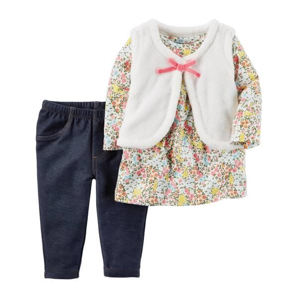 Baby Girl's Multi-Colored 3-Piece Little Vest Set