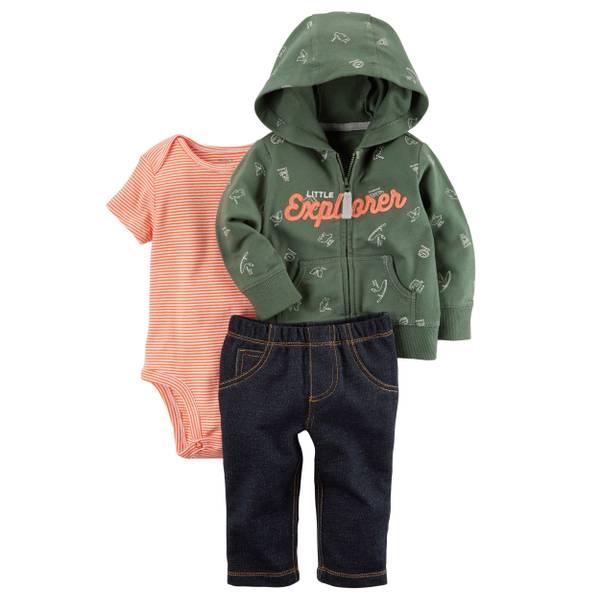 Baby Boy's Gray & Red 3-Piece Little Jacket Set