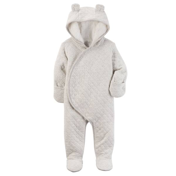 Baby Girl's Gray Sherpa-Lined Hooded Bunting