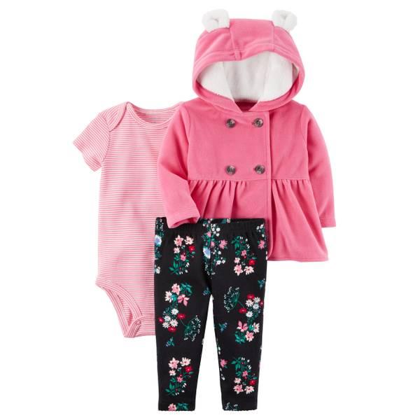 Infant Girl's Pink & Black Three-Piece Little Jacket Set