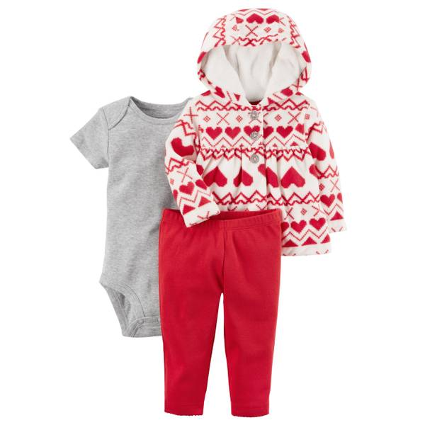 Baby Girl's Red & Gray & White 3-Piece Little Jacket Set