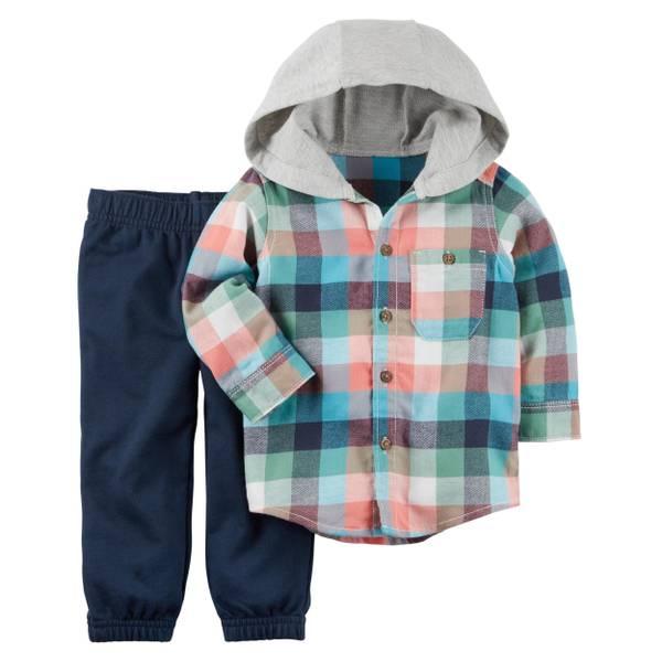 Baby Boys' 2-Piece Flannel Top & Canvas Pants Set