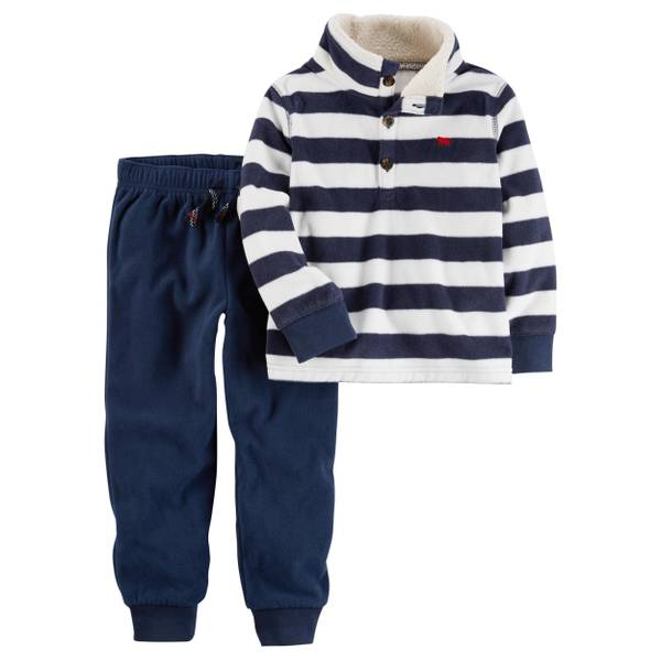 Baby Boy's Red & Black Two-Piece Fleece Pullover & Joggers Set