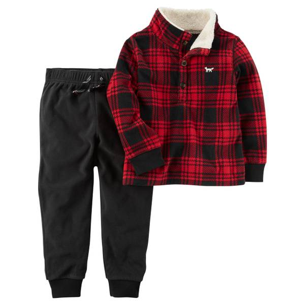 Toddler Boy's Navy & Ivory Two-Piece Fleece Top & Joggers Set