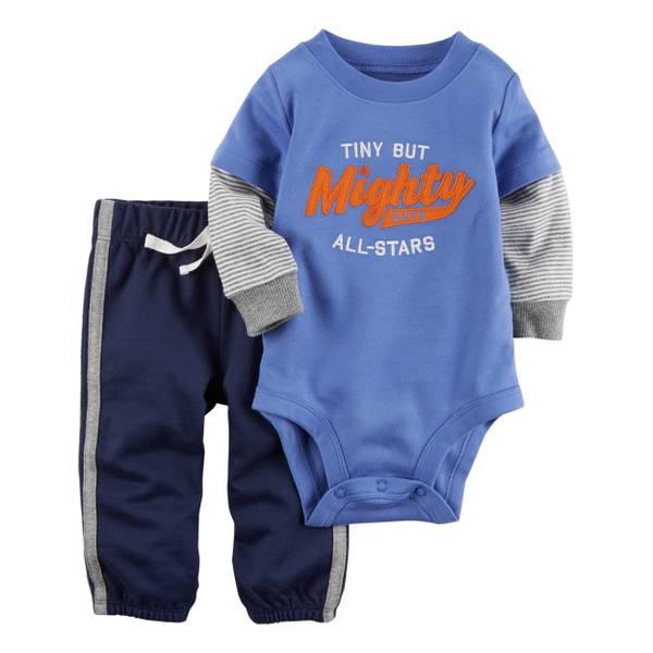 Infant Boy's Blue & Navy 2-Piece Bodysuit & Pants Set