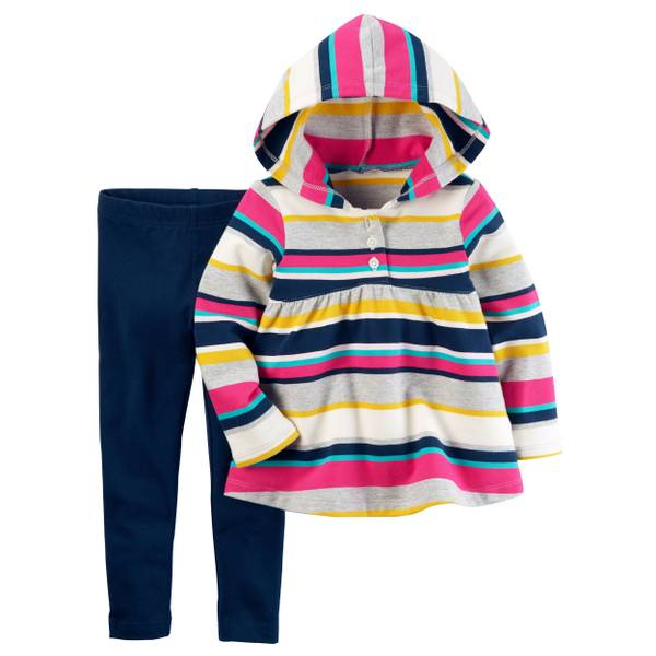 Toddler Girl's Multi-Colored Two-Piece French Terry Hoodie & Leggings Set