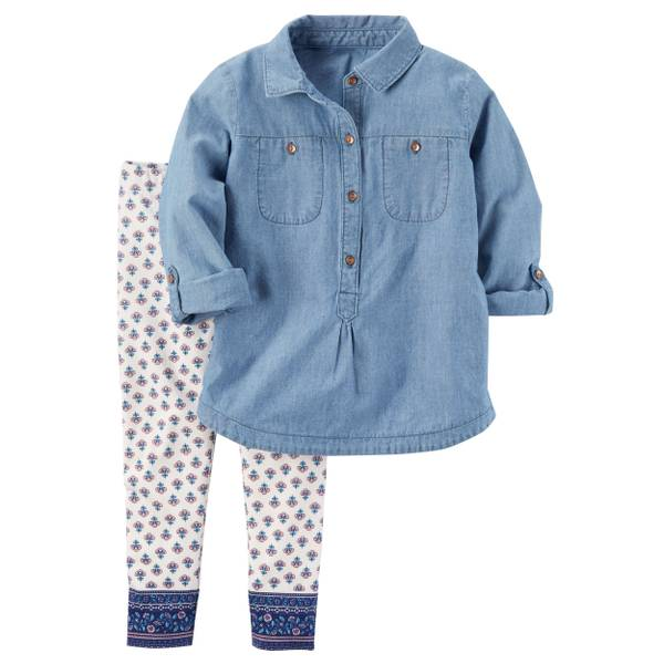 Toddler Girl's Blue & White Two-Piece Chambray Tunic & Leggings Set