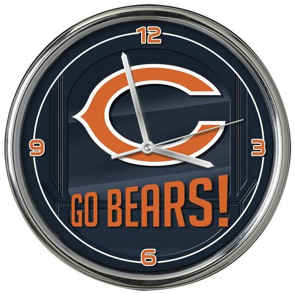 Chicago Bears Go Team Chrome Clock