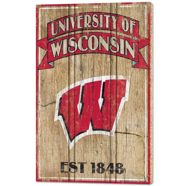 """WinCraft Wisconsin Badgers 15"""" x 24"""" Wood Sign"""