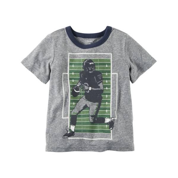 Toddler Boy's Gray Flocked Football Ringer Tee