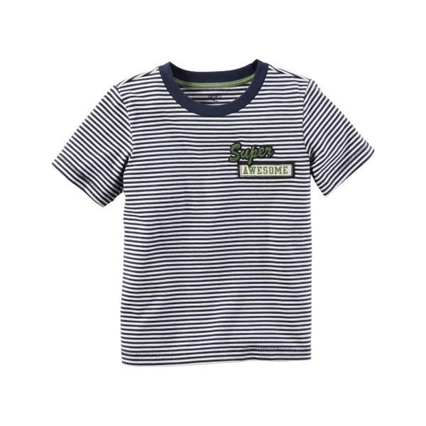 Toddler Boy's Blue Striped Ringer Tee