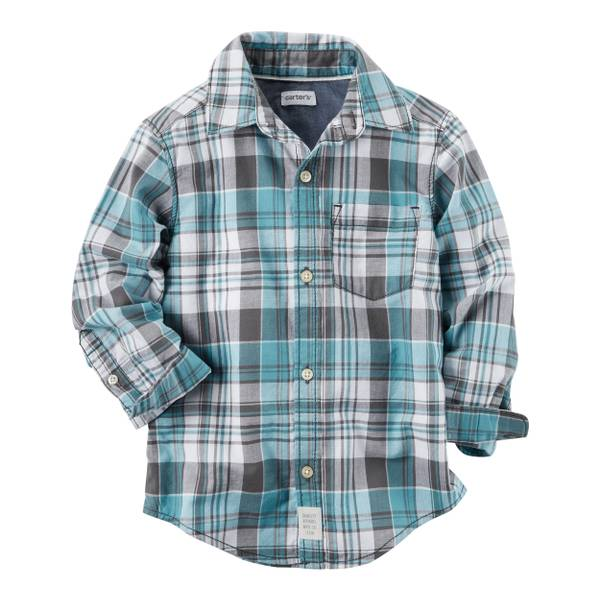 Toddler Boy's Blue Plaid Button-Front Shirt