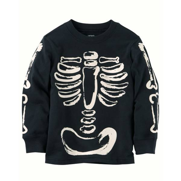 Toddler Boy's Black Glow-in-the-Dark Skeleton Graphic Tee