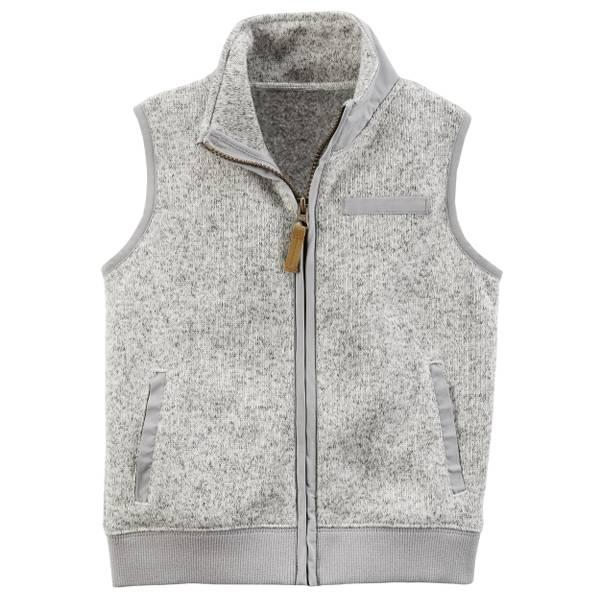 Toddler Boy's Navy Zip-Up Sweater-Faced Vest