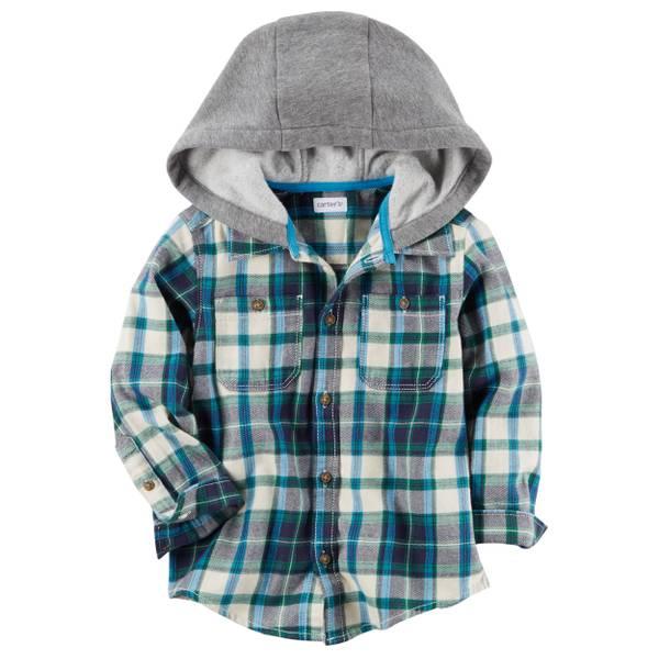Toddler Boys' Hooded Flannel Shirt