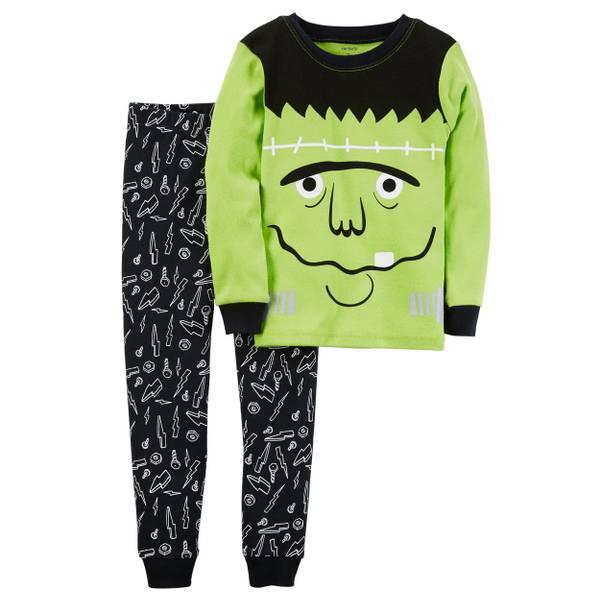 Toddler Boy's White & Black 2-Piece Glow-In-The-Dark Halloween Pajamas