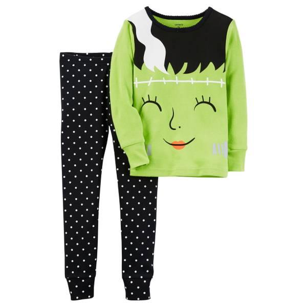 Girl's Black & Orange 2-Piece Cotton Halloween Pajamas