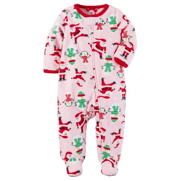 Baby Girl's Pink Fleece Zip-Up Christmas Sleep & Play Pajamas