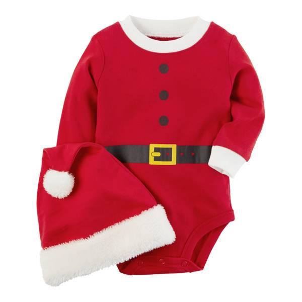 Infant Boy's Red Two-Piece Santa Bodysuit & Hat Set