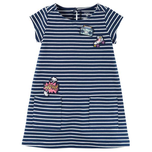 Toddler Girl's Navy Striped Jersey Patch Dress