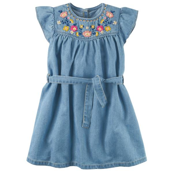 Girl's Blue Embroidered Chambray Dress