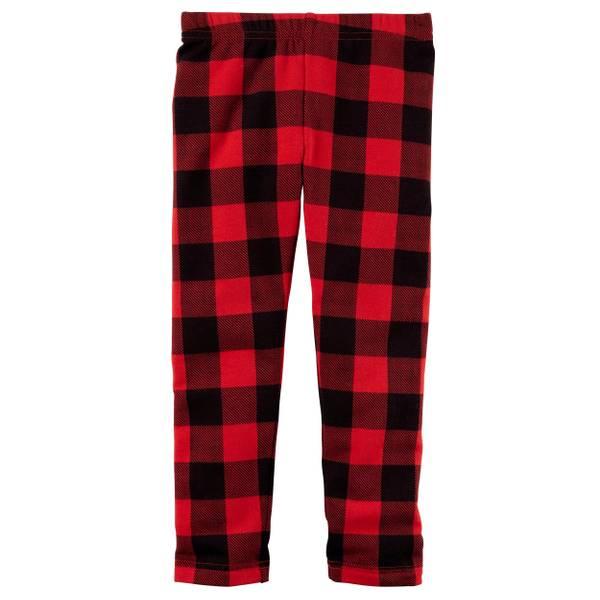 Toddler Girl's Red Cozy Fleece Leggings
