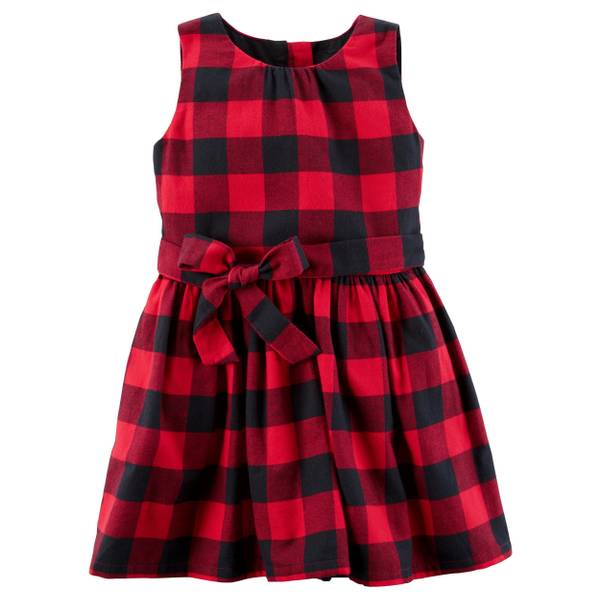 Girl's Red Buffalo Check Flannel Dress