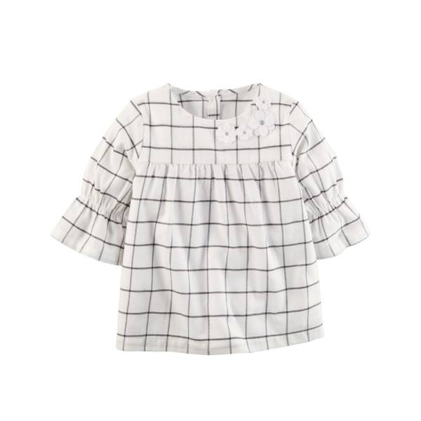 Girl's Green Plaid Bell Sleeve Top