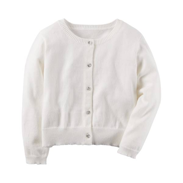 Girl's White Knit Cardigan