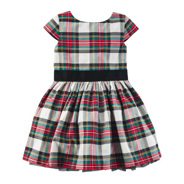 Toddler Girl's Red Plaid Sateen Dress