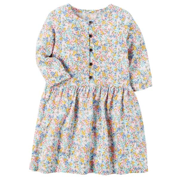 Girl's White Flowy Floral Dress