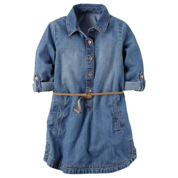 Toddler Girl's Blue Denim Shirt Dress