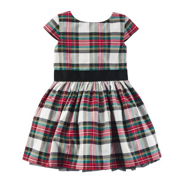 Girl's Red Plaid Sateen Dress