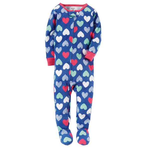 Infant Girl's Blue 1-Piece Snug Fit Cotton Pajamas