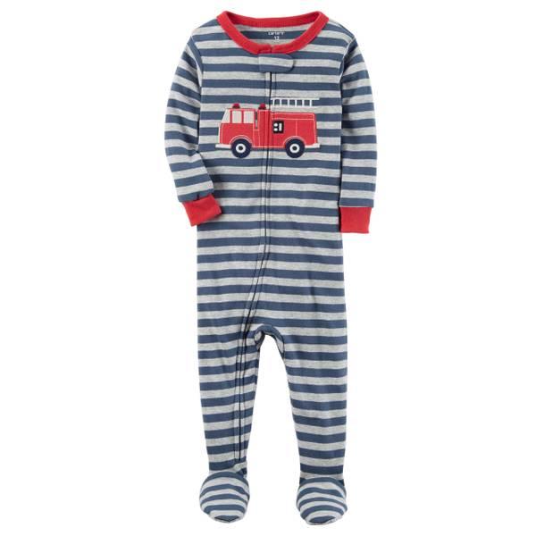 Infant Boy's Gray 1-Piece Snug Fit Cotton Pajamas