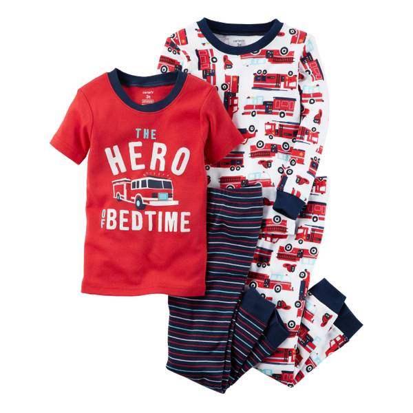 Infant Boy's Red 4-Piece Snug Fit Cotton Pajamas