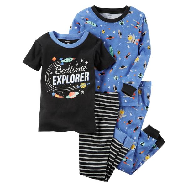 Boys' 4-Piece Cotton Pajamas