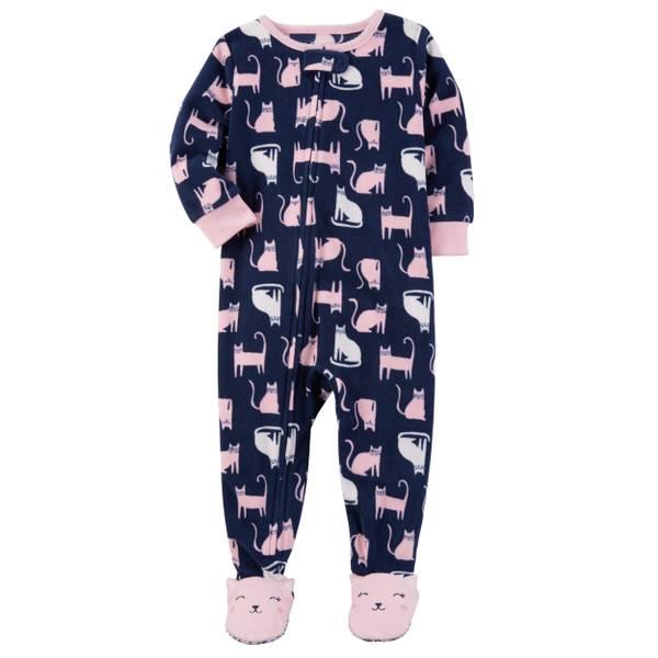 Toddler Girl's Green One-Piece Owl Fleece Pajamas
