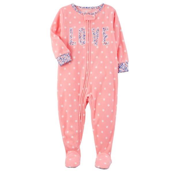 Girl's Pink & Blue 1-Piece Fair Isle Fleece Pajamas