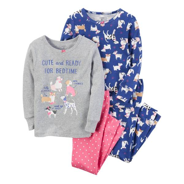 9520836b9e8f Carter s Baby Girl s Red   Gray 4-Piece S more Snug-Fit Cotton Pajamas