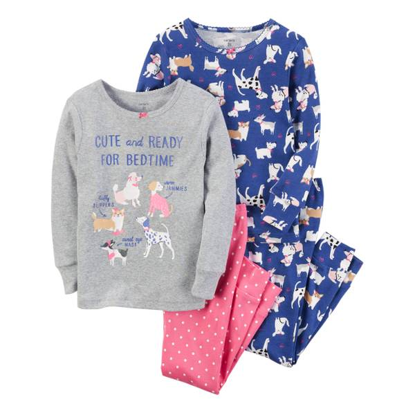 Toddler Girl's Pink & Purple 4-Piece Sweet Dreams Snug-Fit Pajamas