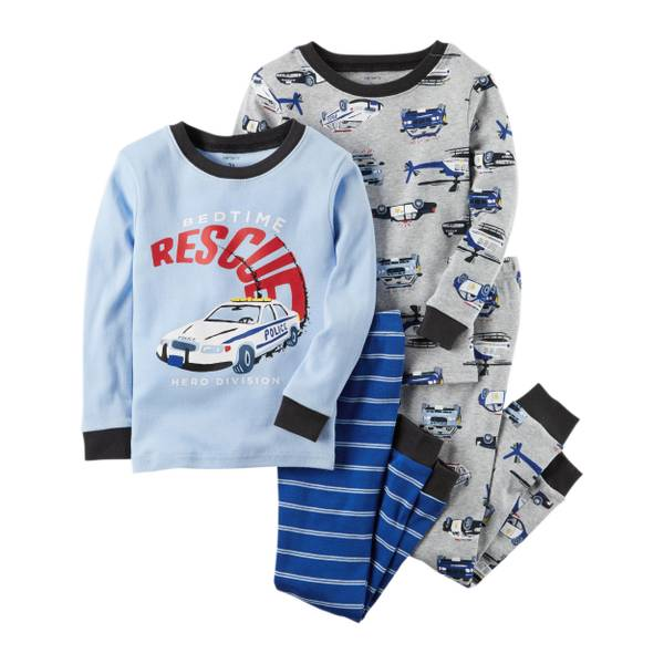 Toddler Boy's Blue & Gray 4-Piece Rescue Snug-Fit Pajamas