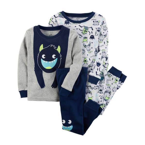 Infant Boy's Blue & Gray 4-Piece Rescue Snug-Fit Cotton Pajamas