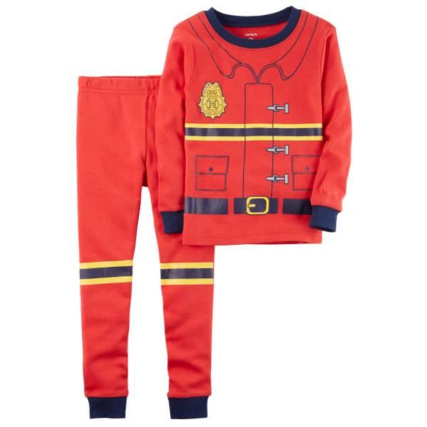 Infant Boy's Red 2-Piece Fireman Snug-Fit Cotton Pajamas
