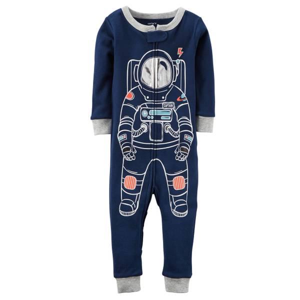 Toddler Boy's Navy 1-Piece Snug Fit Cotton Footless PJs