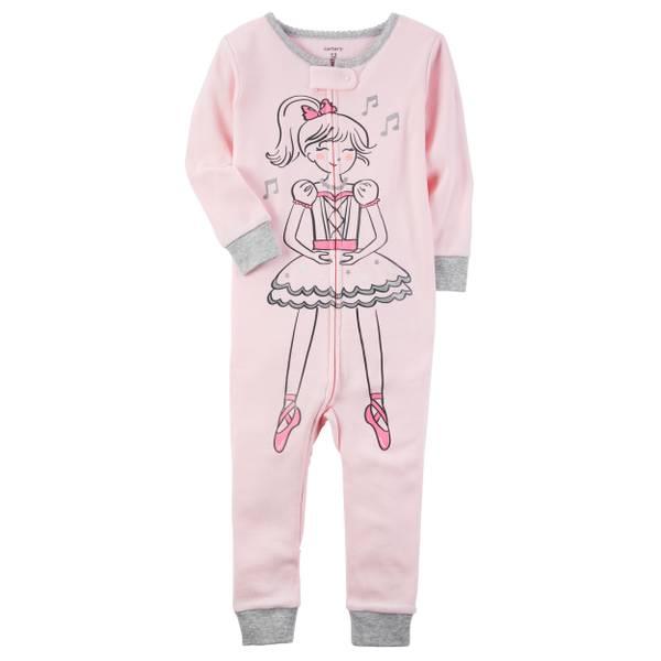 Toddler Girl's Pink 1-Piece Ballerina Snug-Fit Cotton Pajamas