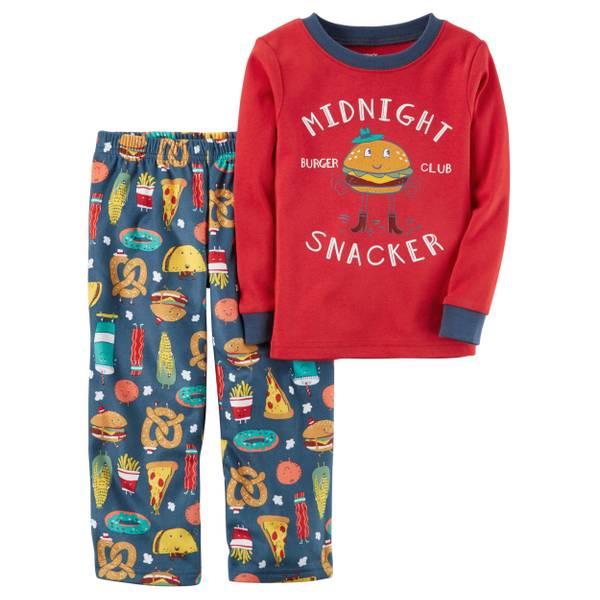 Boy's Yellow & Gray 2-Piece Monster Cotton & Fleece Pajamas