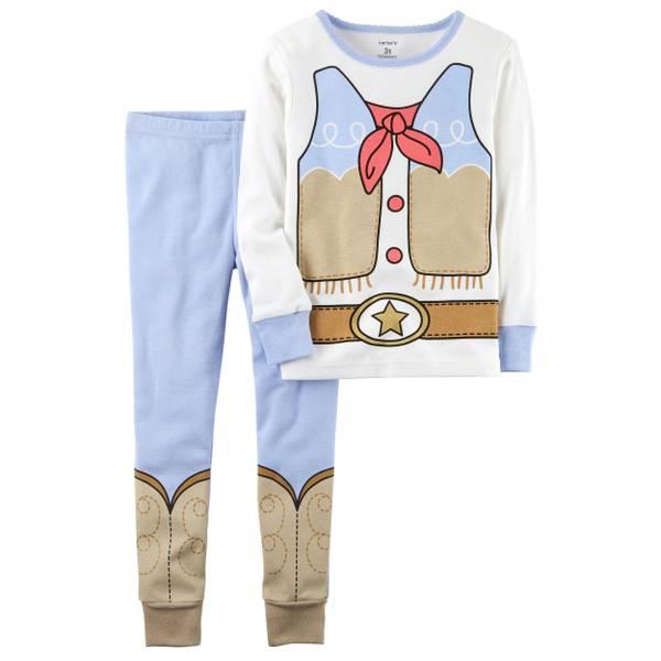 Girl's White 2-Piece Snug Fit Cotton Pajamas