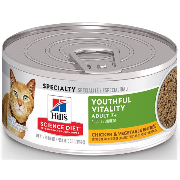 5.5 oz Youthful Vitality Adult 7+ Chicken & Vegetable Entree Cat Food