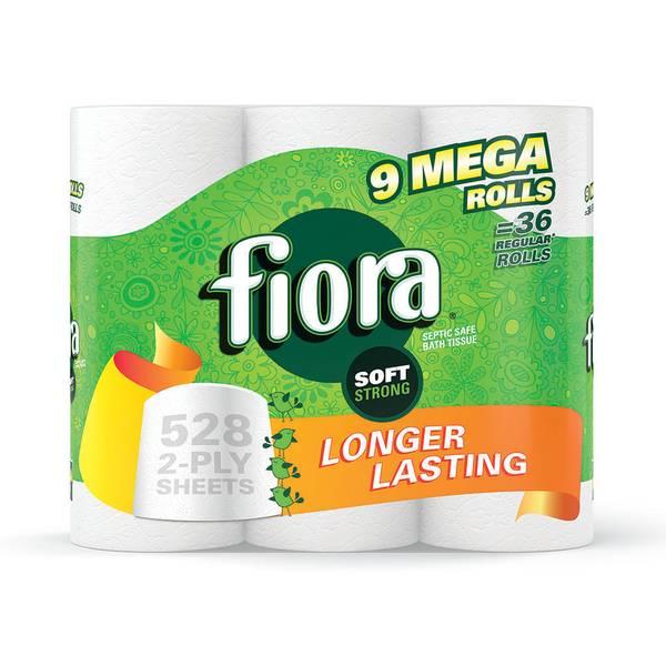Fiora Unscented Bath Tissue Mega Rolls 9 Pack